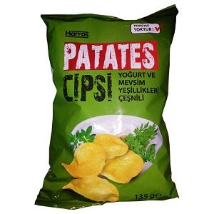 Harras Patates Cipsi Yoğurt ve Mevsim Yeşillikleri Çeşnili